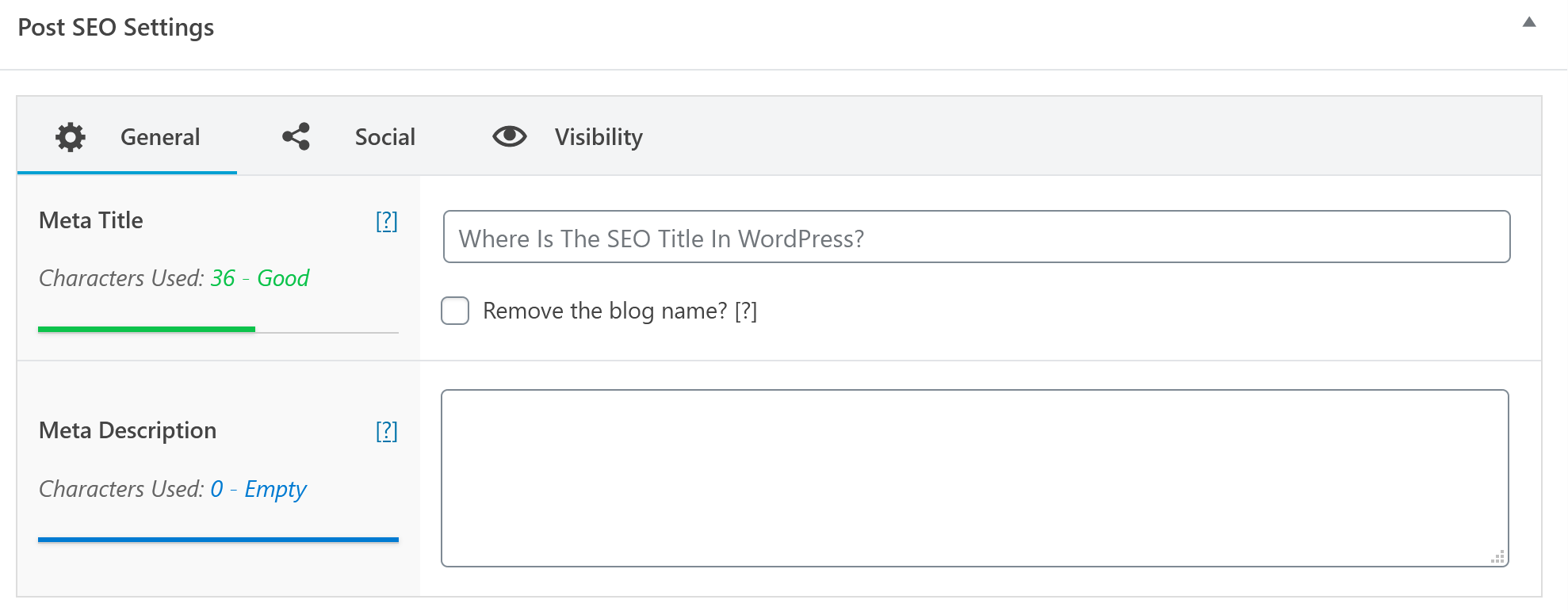 WordPress SEO Title example - meta title and description